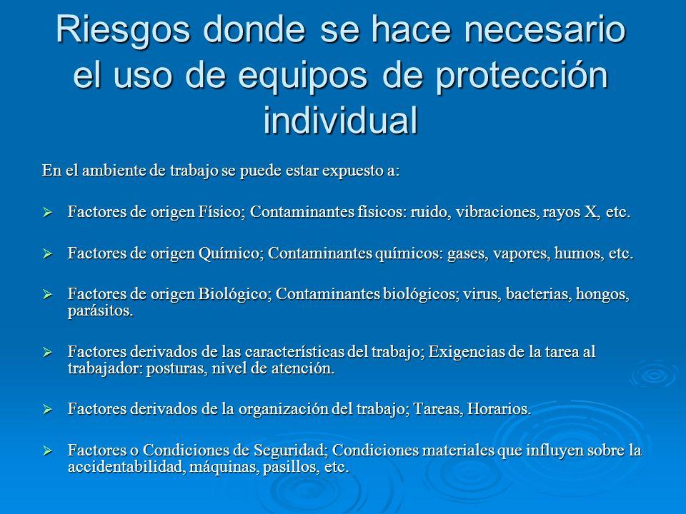 Riesgos donde se hace necesario el uso de equipos de protección individual En el ambiente de trabajo se puede estar expuesto a: Factores de origen Fís