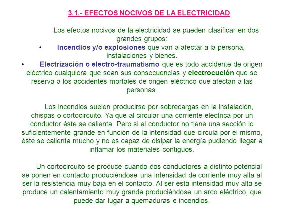 3.1.- EFECTOS NOCIVOS DE LA ELECTRICIDAD Los efectos nocivos de la electricidad se pueden clasificar en dos grandes grupos: Incendios y/o explosiones que van a afectar a la persona, instalaciones y bienes.