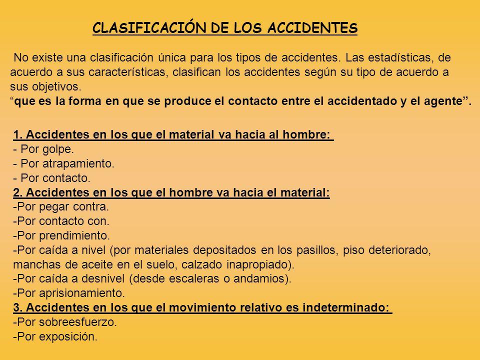 CLASIFICACIÓN DE LOS ACCIDENTES No existe una clasificación única para los tipos de accidentes. Las estadísticas, de acuerdo a sus características, cl