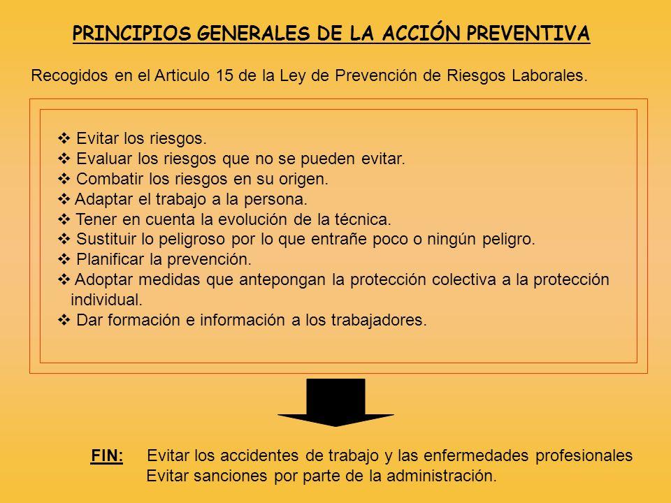 PRINCIPIOS GENERALES DE LA ACCIÓN PREVENTIVA Recogidos en el Articulo 15 de la Ley de Prevención de Riesgos Laborales. Evitar los riesgos. Evaluar los