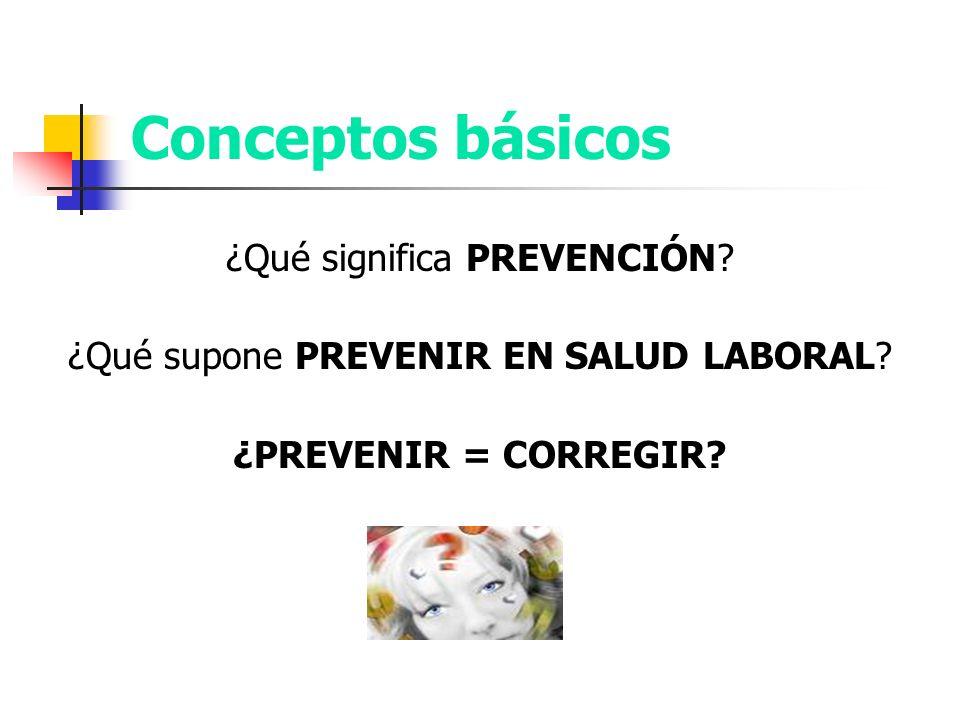 Conceptos básicos ¿Qué significa PREVENCIÓN? ¿Qué supone PREVENIR EN SALUD LABORAL? ¿PREVENIR = CORREGIR?