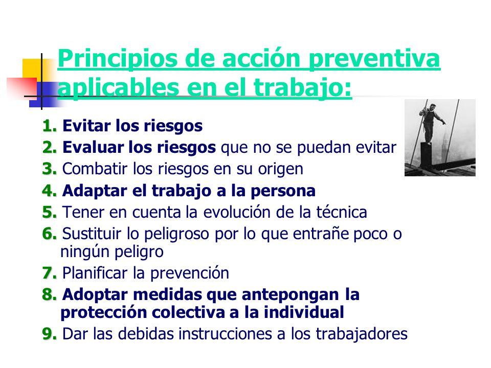 Principios de acción preventiva aplicables en el trabajo: 1. 1. Evitar los riesgos 2. 2. Evaluar los riesgos que no se puedan evitar 3. 3. Combatir lo