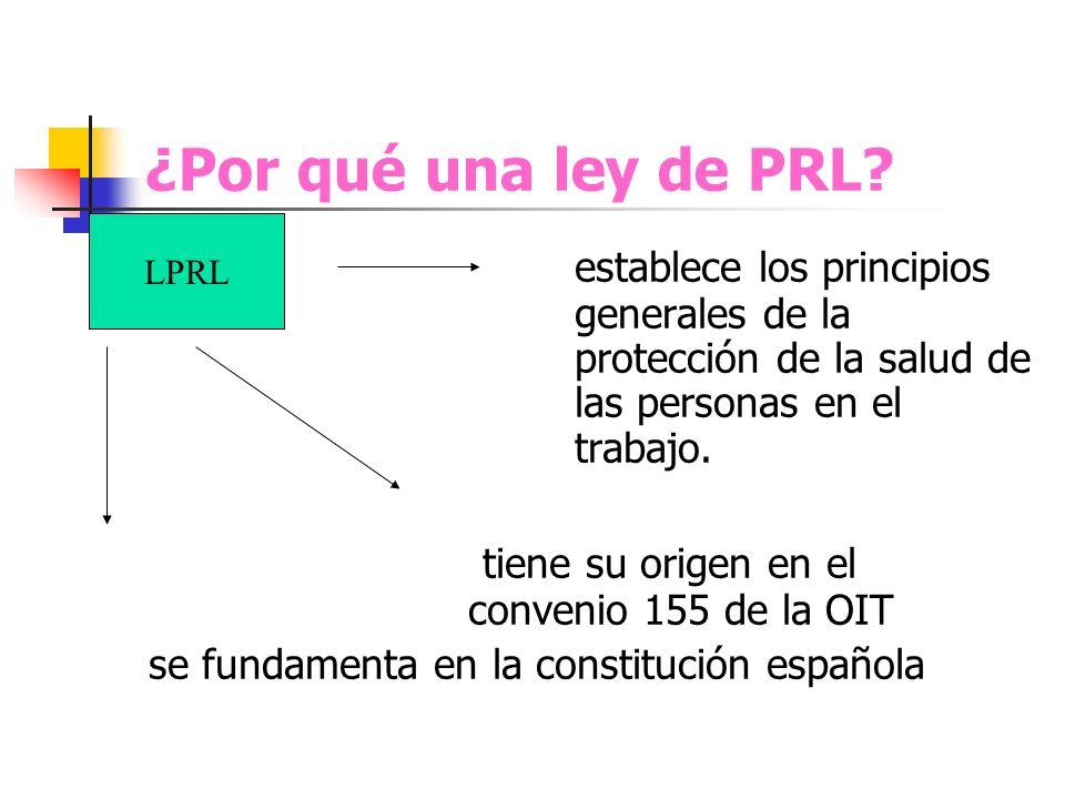 ¿Por qué una ley de PRL? establece los principios generales de la protección de la salud de las personas en el trabajo. tiene su origen en el convenio