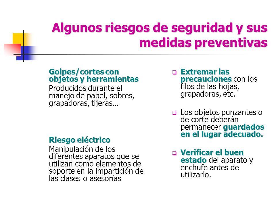Algunos riesgos de seguridad y sus medidas preventivas Golpes/cortes con objetos y herramientas Producidos durante el manejo de papel, sobres, grapado