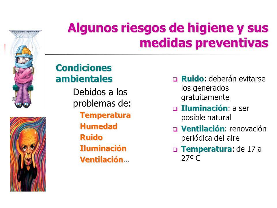 Algunos riesgos de higiene y sus medidas preventivas Condiciones ambientales Debidos a los problemas de:TemperaturaHumedadRuidoIluminación Ventilación
