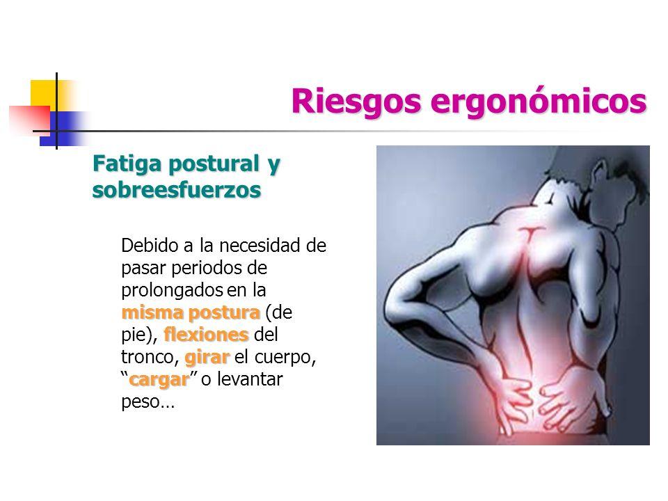 Riesgos ergonómicos Fatiga postural y sobreesfuerzos misma postura flexiones girar cargar Debido a la necesidad de pasar periodos de prolongados en la