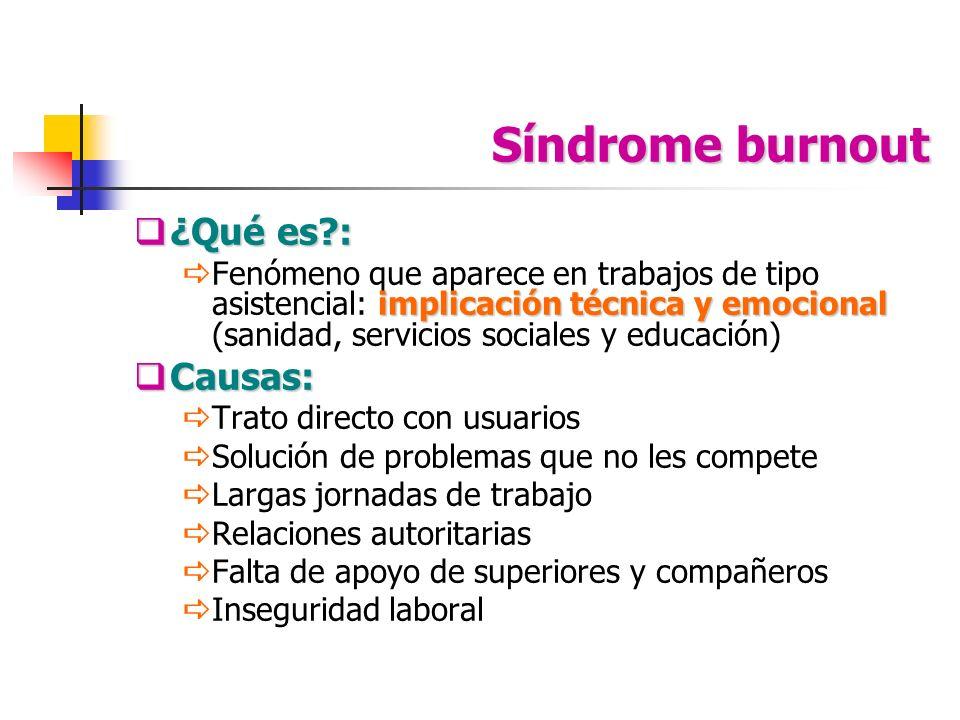 Síndrome burnout ¿Qué es?: ¿Qué es?: implicación técnica y emocional Fenómeno que aparece en trabajos de tipo asistencial: implicación técnica y emoci