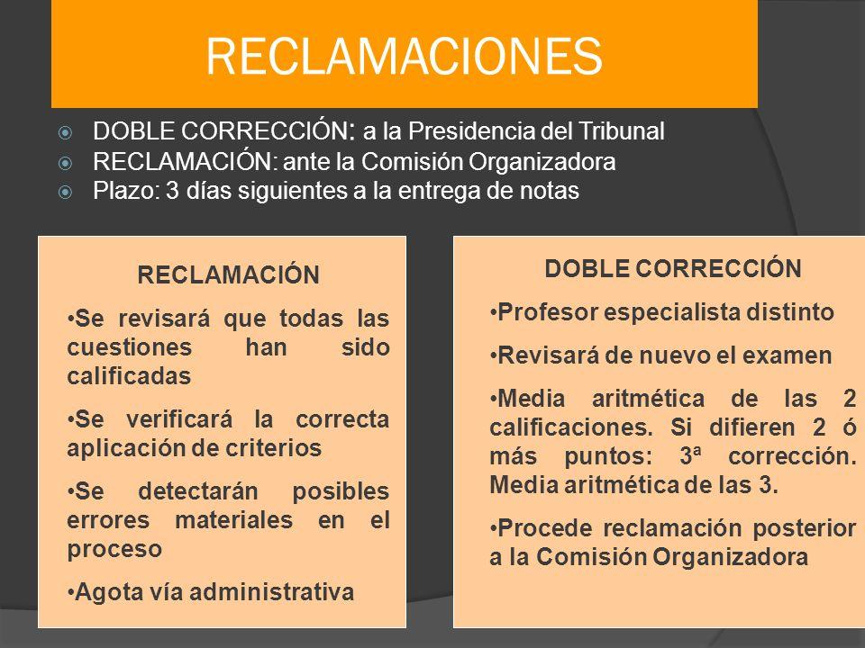 RECLAMACIONES DOBLE CORRECCIÓN : a la Presidencia del Tribunal RECLAMACIÓN: ante la Comisión Organizadora Plazo: 3 días siguientes a la entrega de not