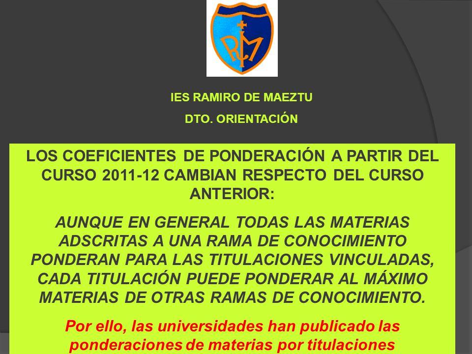 LOS COEFICIENTES DE PONDERACIÓN A PARTIR DEL CURSO 2011-12 CAMBIAN RESPECTO DEL CURSO ANTERIOR: AUNQUE EN GENERAL TODAS LAS MATERIAS ADSCRITAS A UNA R