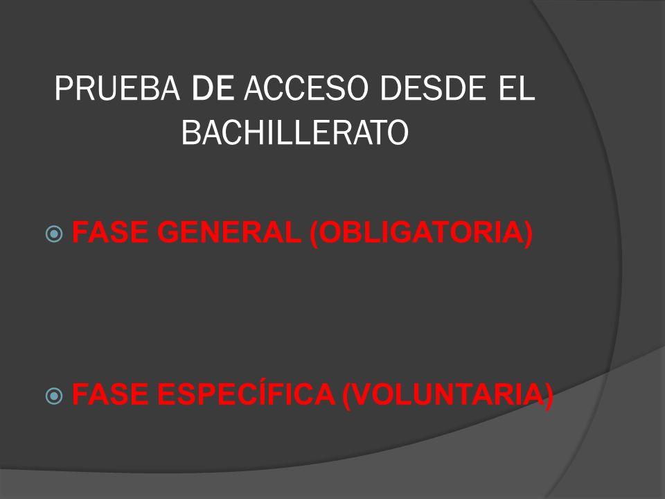 PRUEBA DE ACCESO DESDE EL BACHILLERATO FASE GENERAL (OBLIGATORIA) FASE ESPECÍFICA (VOLUNTARIA)