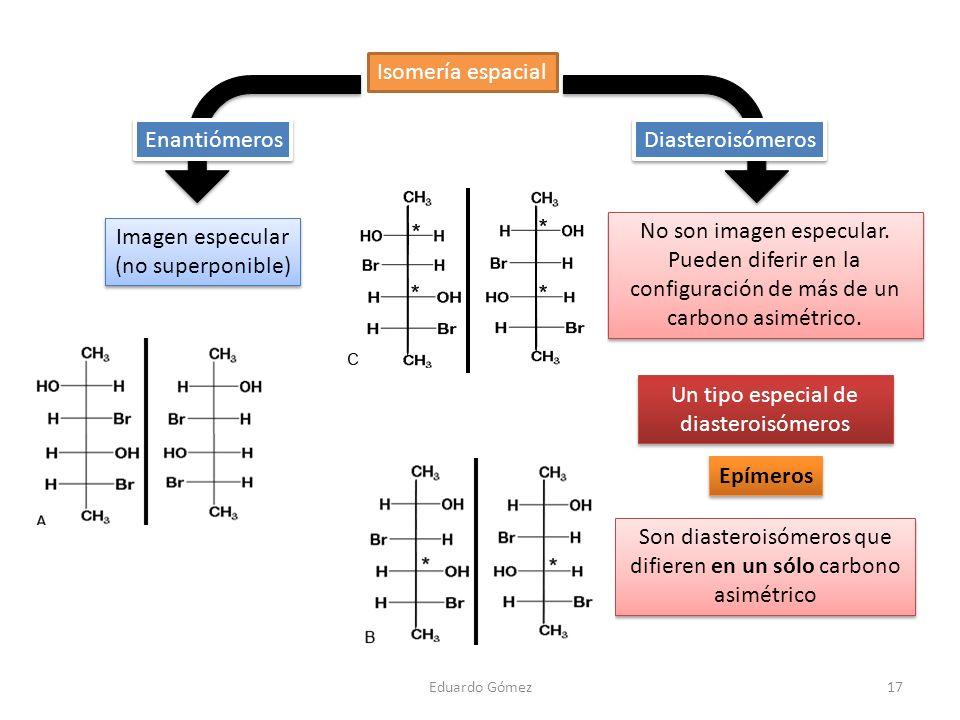 17 Isomería espacial Imagen especular (no superponible) Imagen especular (no superponible) Epímeros Son diasteroisómeros que difieren en un sólo carbo