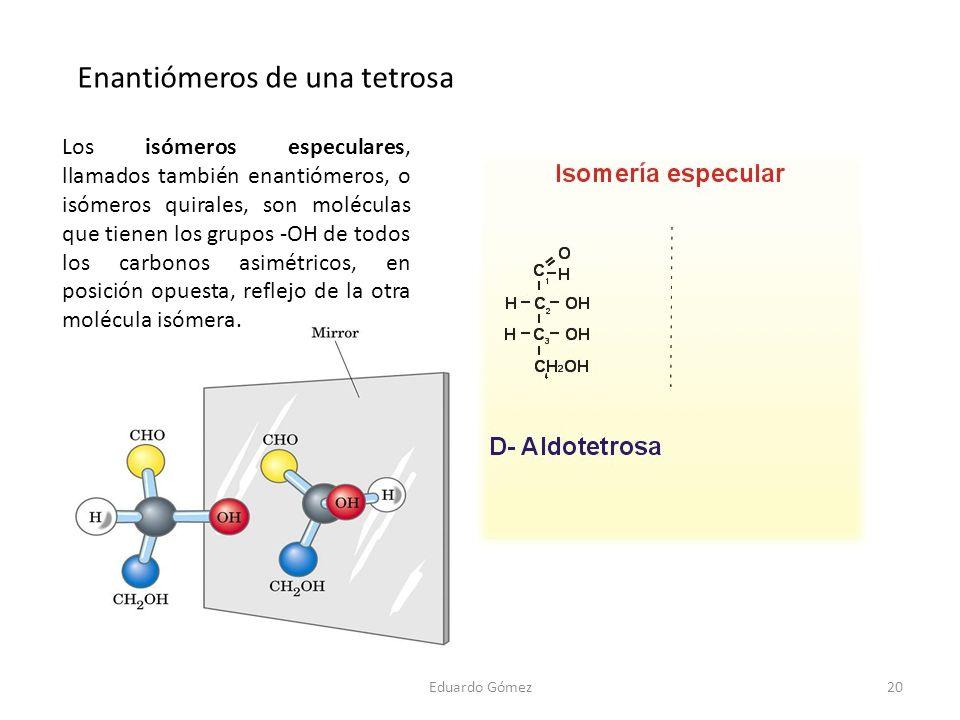 Eduardo Gómez20 Enantiómeros de una tetrosa Los isómeros especulares, llamados también enantiómeros, o isómeros quirales, son moléculas que tienen los