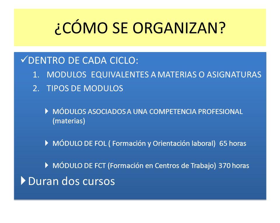 ¿CÓMO SE ORGANIZAN? DENTRO DE CADA CICLO: 1.MODULOS EQUIVALENTES A MATERIAS O ASIGNATURAS 2.TIPOS DE MODULOS MÓDULOS ASOCIADOS A UNA COMPETENCIA PROFE