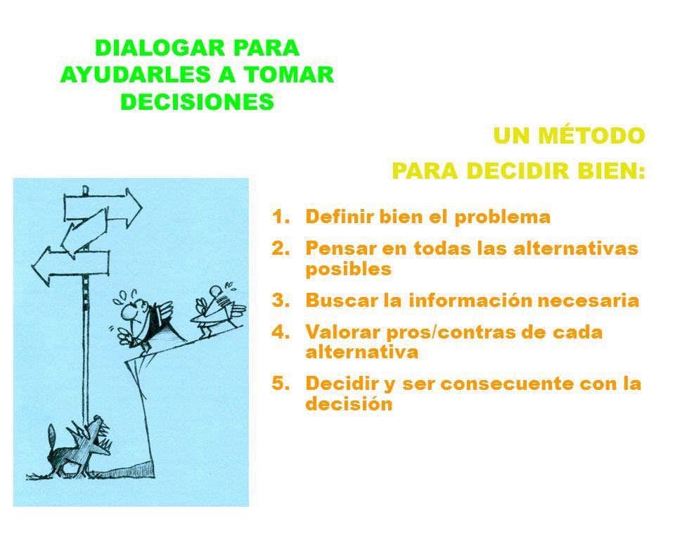 DIALOGAR PARA AYUDARLES A TOMAR DECISIONES UN MÉTODO PARA DECIDIR BIEN: 1.Definir bien el problema 2.Pensar en todas las alternativas posibles 3.Busca