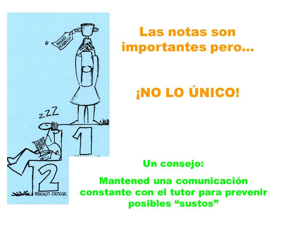 Las notas son importantes pero... ¡NO LO ÚNICO! Un consejo: Mantened una comunicación constante con el tutor para prevenir posibles sustos