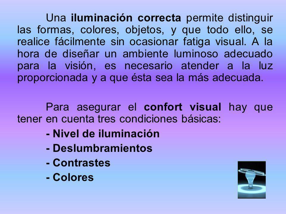 Una iluminación correcta permite distinguir las formas, colores, objetos, y que todo ello, se realice fácilmente sin ocasionar fatiga visual. A la hor
