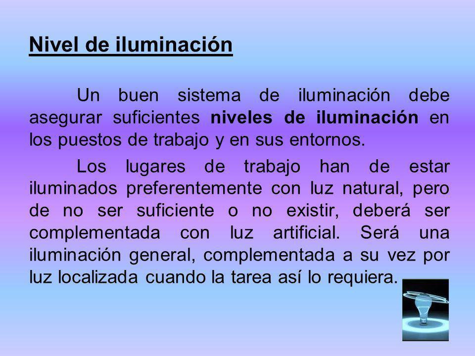 Nivel de iluminación Un buen sistema de iluminación debe asegurar suficientes niveles de iluminación en los puestos de trabajo y en sus entornos. Los