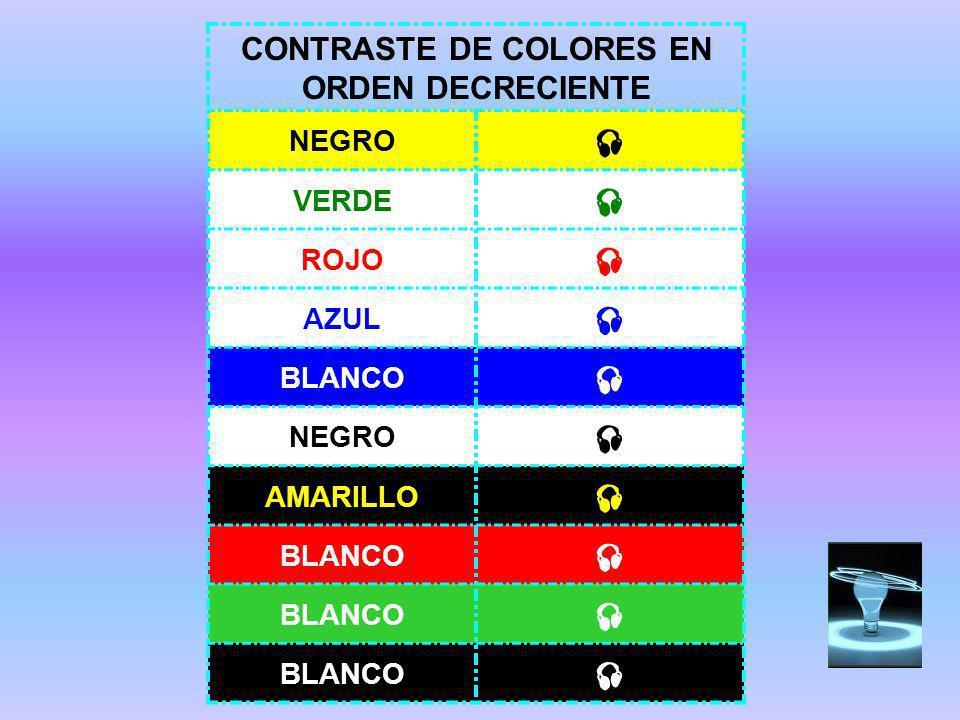 CONTRASTE DE COLORES EN ORDEN DECRECIENTE NEGRO VERDE ROJO AZUL BLANCO NEGRO AMARILLO BLANCO BLANCO BLANCO
