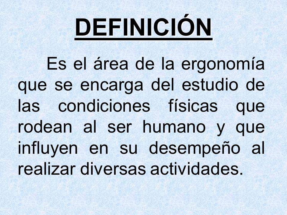 DEFINICIÓN Es el área de la ergonomía que se encarga del estudio de las condiciones físicas que rodean al ser humano y que influyen en su desempeño al realizar diversas actividades.