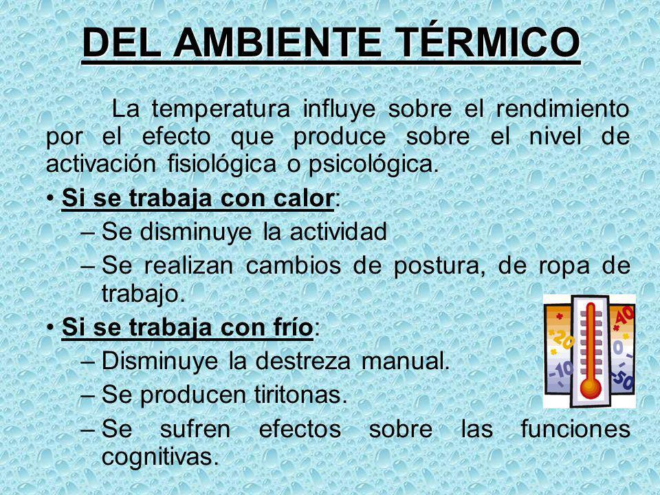 DEL AMBIENTE TÉRMICO La temperatura influye sobre el rendimiento por el efecto que produce sobre el nivel de activación fisiológica o psicológica. Si