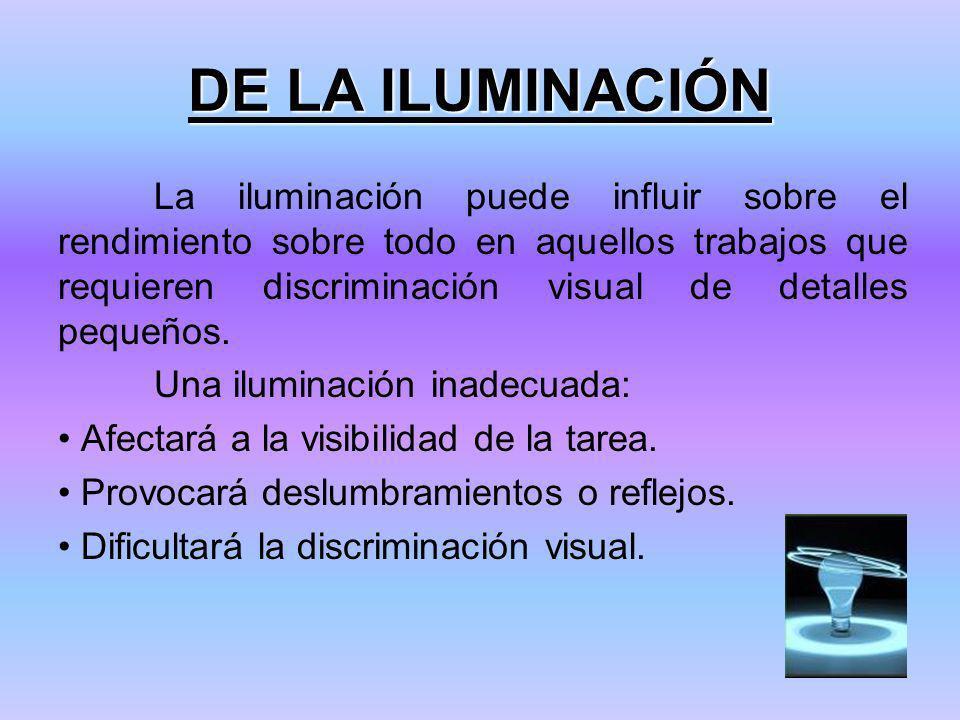 DE LA ILUMINACIÓN La iluminación puede influir sobre el rendimiento sobre todo en aquellos trabajos que requieren discriminación visual de detalles pequeños.
