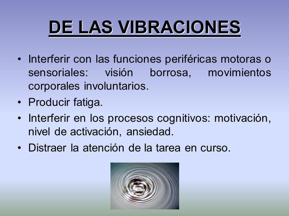 DE LAS VIBRACIONES Interferir con las funciones periféricas motoras o sensoriales: visión borrosa, movimientos corporales involuntarios. Producir fati