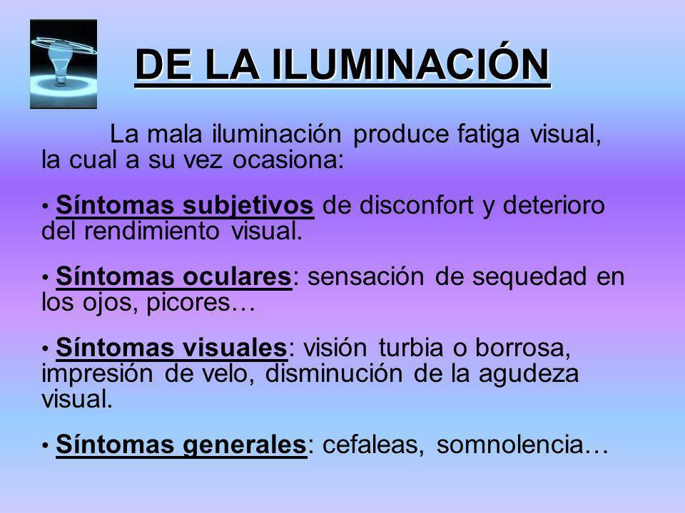 DE LA ILUMINACIÓN La mala iluminación produce fatiga visual, la cual a su vez ocasiona: Síntomas subjetivos de disconfort y deterioro del rendimiento