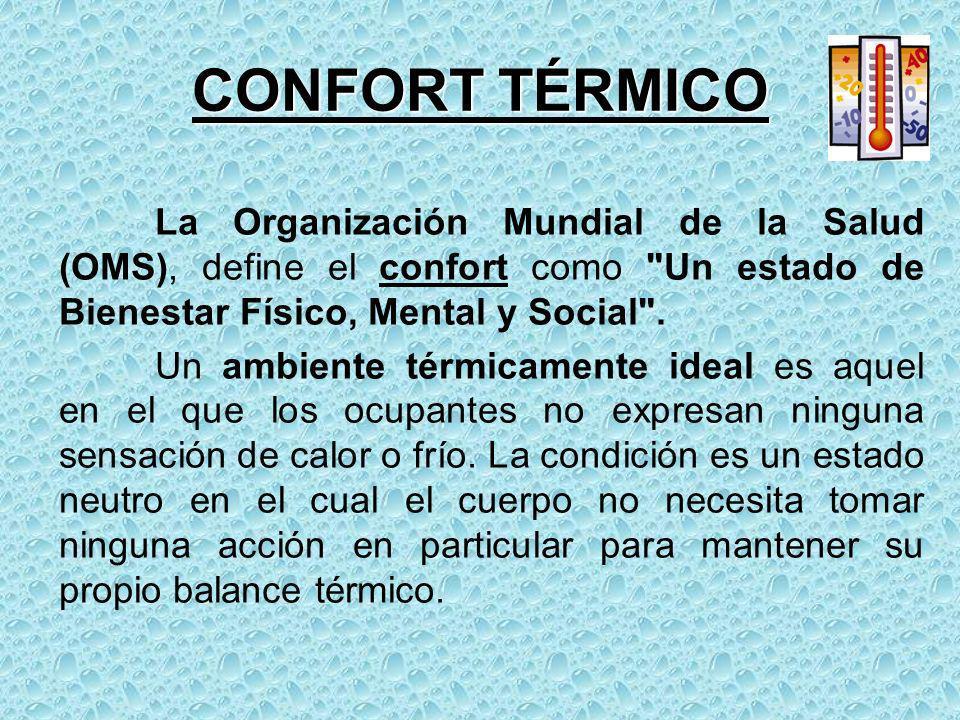 CONFORT TÉRMICO La Organización Mundial de la Salud (OMS), define el confort como
