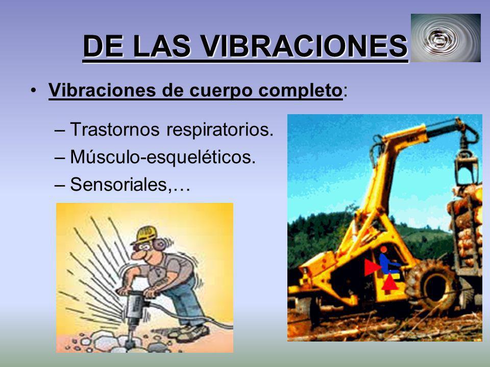 DE LAS VIBRACIONES Vibraciones de cuerpo completo: –Trastornos respiratorios. –Músculo-esqueléticos. –Sensoriales,…