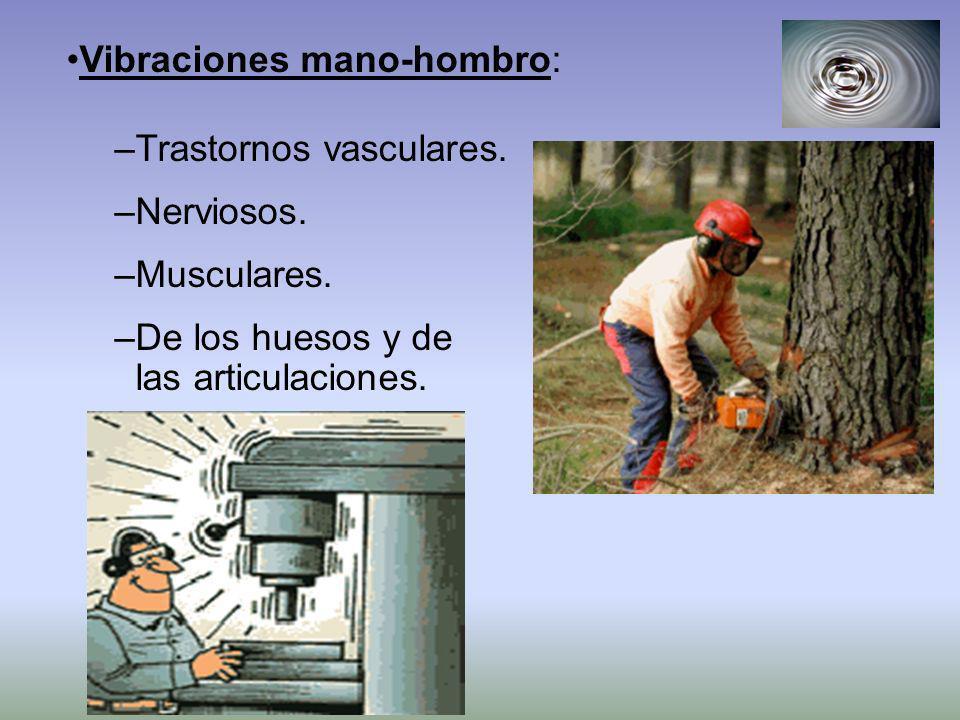 Vibraciones mano-hombro: –Trastornos vasculares. –Nerviosos. –Musculares. –De los huesos y de las articulaciones.