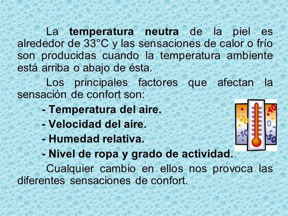 La temperatura neutra de la piel es alrededor de 33°C y las sensaciones de calor o frío son producidas cuando la temperatura ambiente está arriba o ab