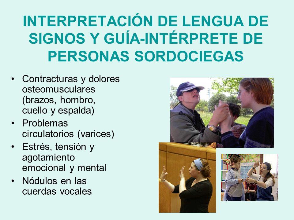 INTERPRETACIÓN DE LENGUA DE SIGNOS Y GUÍA-INTÉRPRETE DE PERSONAS SORDOCIEGAS Contracturas y dolores osteomusculares (brazos, hombro, cuello y espalda)