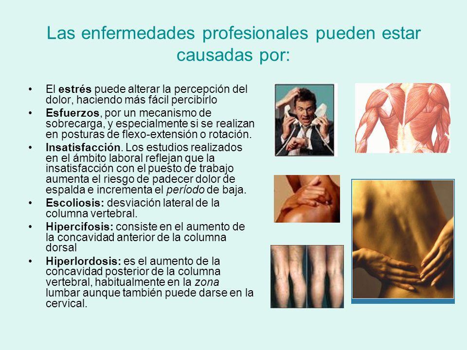 Las enfermedades profesionales pueden estar causadas por: El estrés puede alterar la percepción del dolor, haciendo más fácil percibirlo Esfuerzos, po