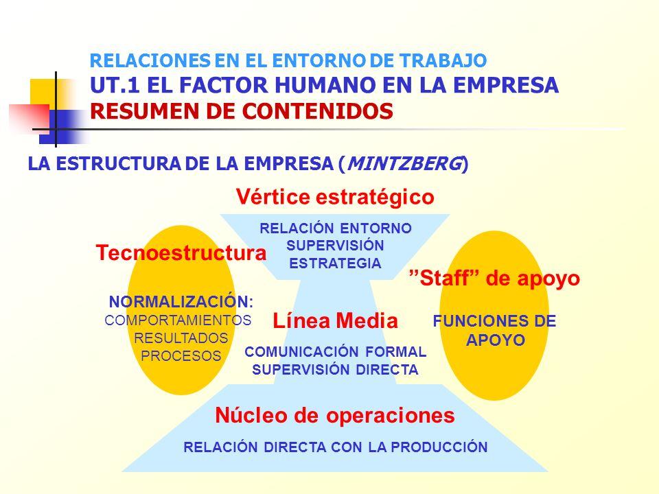 LA ESTRUCTURA DE LA EMPRESA (MINTZBERG) Núcleo de operaciones RELACIÓN DIRECTA CON LA PRODUCCIÓN Línea Media COMUNICACIÓN FORMAL SUPERVISIÓN DIRECTA V