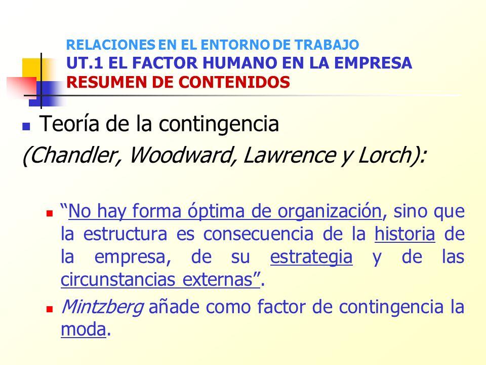 Teoría de la contingencia (Chandler, Woodward, Lawrence y Lorch): No hay forma óptima de organización, sino que la estructura es consecuencia de la hi