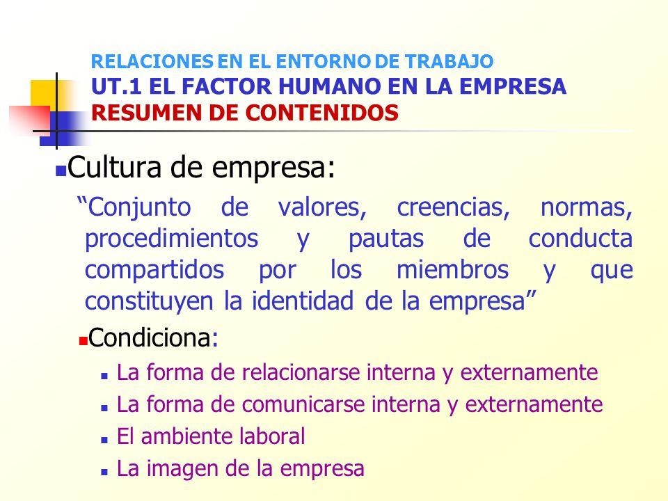 Cultura de empresa: Conjunto de valores, creencias, normas, procedimientos y pautas de conducta compartidos por los miembros y que constituyen la iden