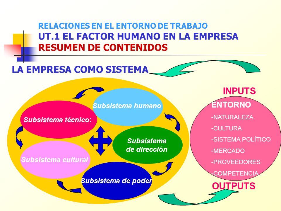 ENTORNO -NATURALEZA -CULTURA -SISTEMA POLÍTICO -MERCADO -PROVEEDORES -COMPETENCIA,.... Subsistema técnico: Subsistema de dirección Subsistema cultural