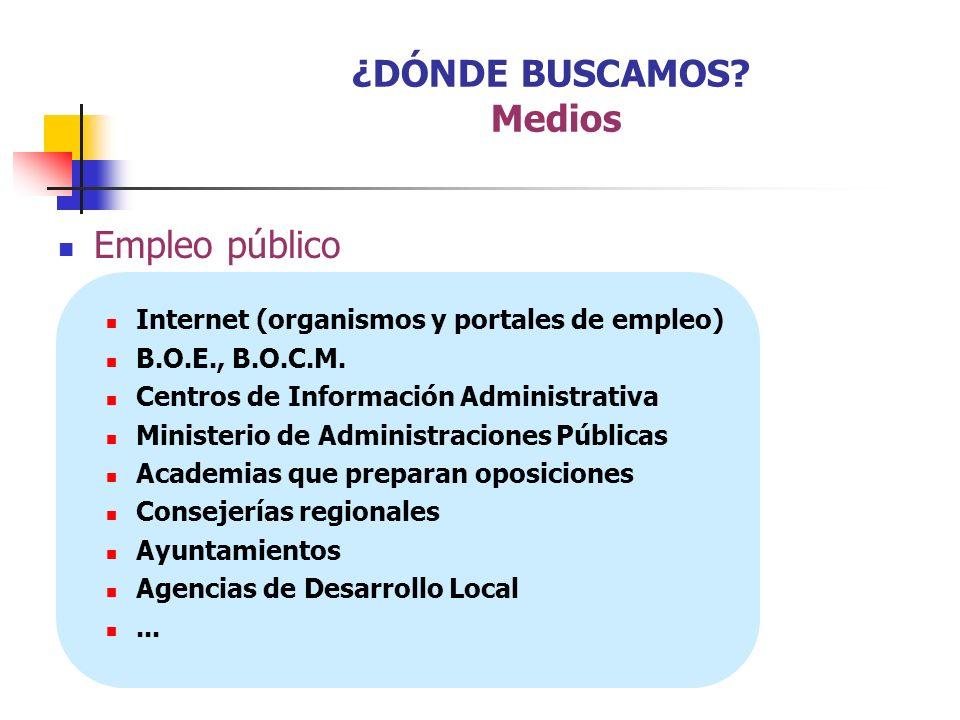 Empleo público Internet (organismos y portales de empleo) B.O.E., B.O.C.M. Centros de Información Administrativa Ministerio de Administraciones Públic
