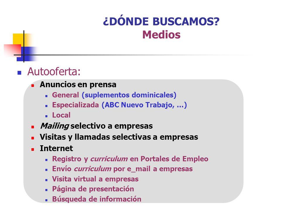 Autooferta: Anuncios en prensa General (suplementos dominicales) Especializada (ABC Nuevo Trabajo,...) Local Mailing selectivo a empresas Visitas y ll