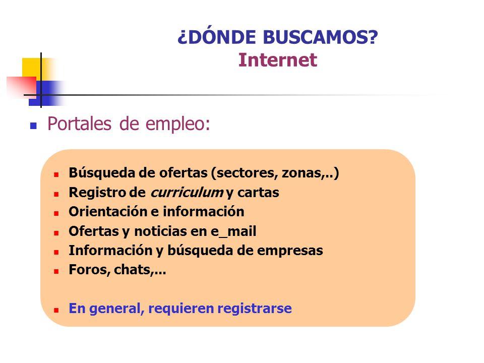 Portales de empleo: Búsqueda de ofertas (sectores, zonas,..) Registro de curriculum y cartas Orientación e información Ofertas y noticias en e_mail In