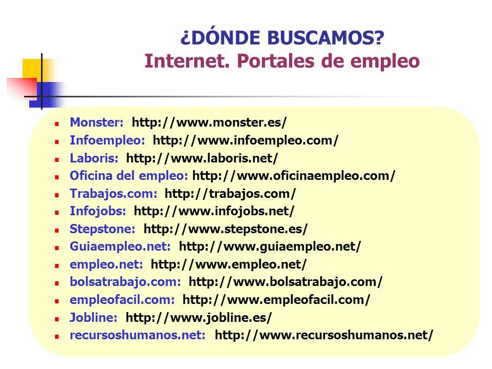 Monster: http://www.monster.es/ Infoempleo: http://www.infoempleo.com/ Laboris: http://www.laboris.net/ Oficina del empleo: http://www.oficinaempleo.c