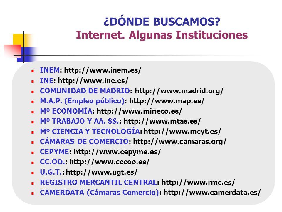 INEM: http://www.inem.es/ INE: http://www.ine.es/ COMUNIDAD DE MADRID: http://www.madrid.org/ M.A.P. (Empleo público): http://www.map.es/ Mº ECONOMÍA: