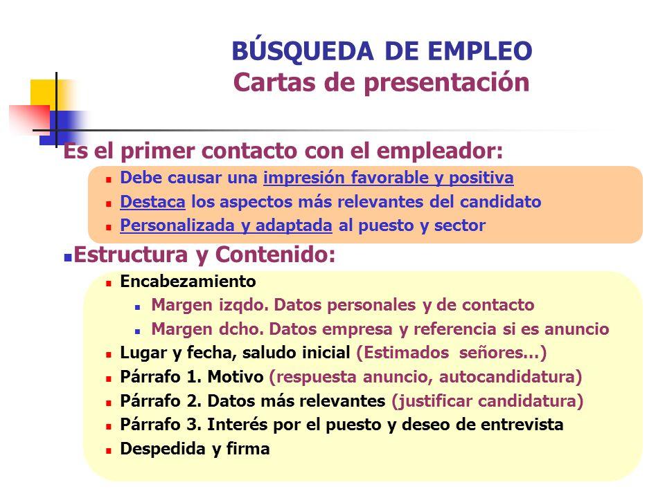 BÚSQUEDA DE EMPLEO Cartas de presentación Es el primer contacto con el empleador: Debe causar una impresión favorable y positiva Destaca los aspectos