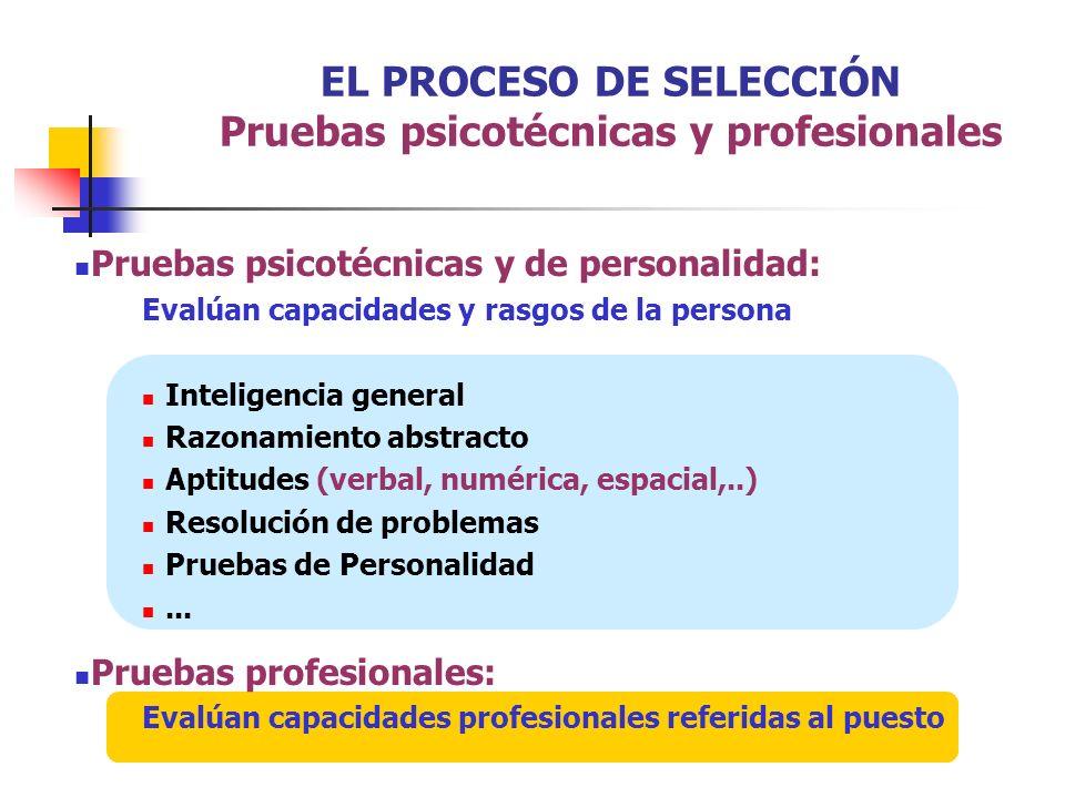 EL PROCESO DE SELECCIÓN Pruebas psicotécnicas y profesionales Pruebas psicotécnicas y de personalidad: Evalúan capacidades y rasgos de la persona Inte