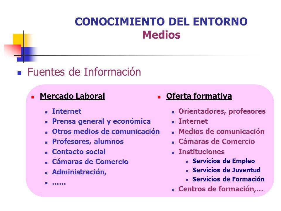 Fuentes de Información Mercado Laboral Internet Prensa general y económica Otros medios de comunicación Profesores, alumnos Contacto social Cámaras de