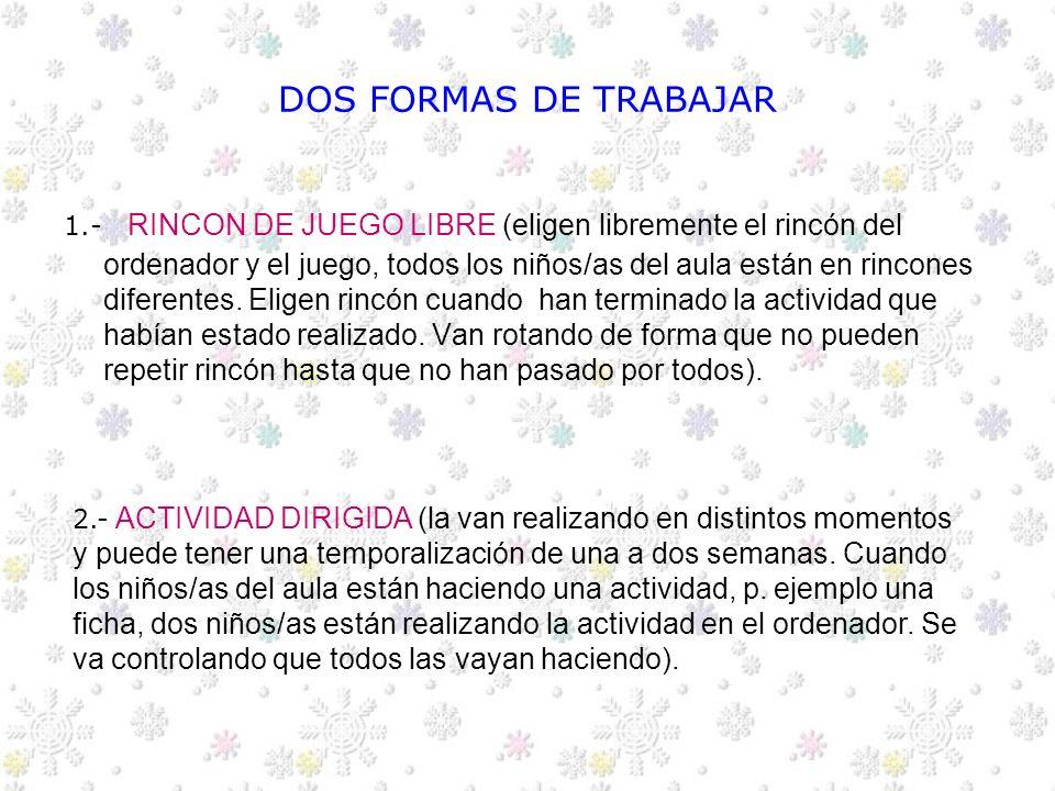 ACTIVIDADES EN EL AULA CON LOS ORDENADORES EDUCACION INFANTIL 5 AÑOS C.E.I.P ANDRES MANJON FUENLABRADA CURSO 2004/2005