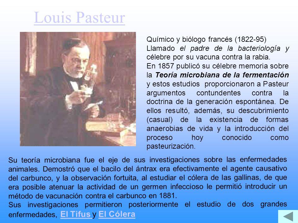 Louis Pasteur Químico y biólogo francés (1822-95) Llamado el padre de la bacteriología y célebre por su vacuna contra la rabia. En 1857 publicó su cél