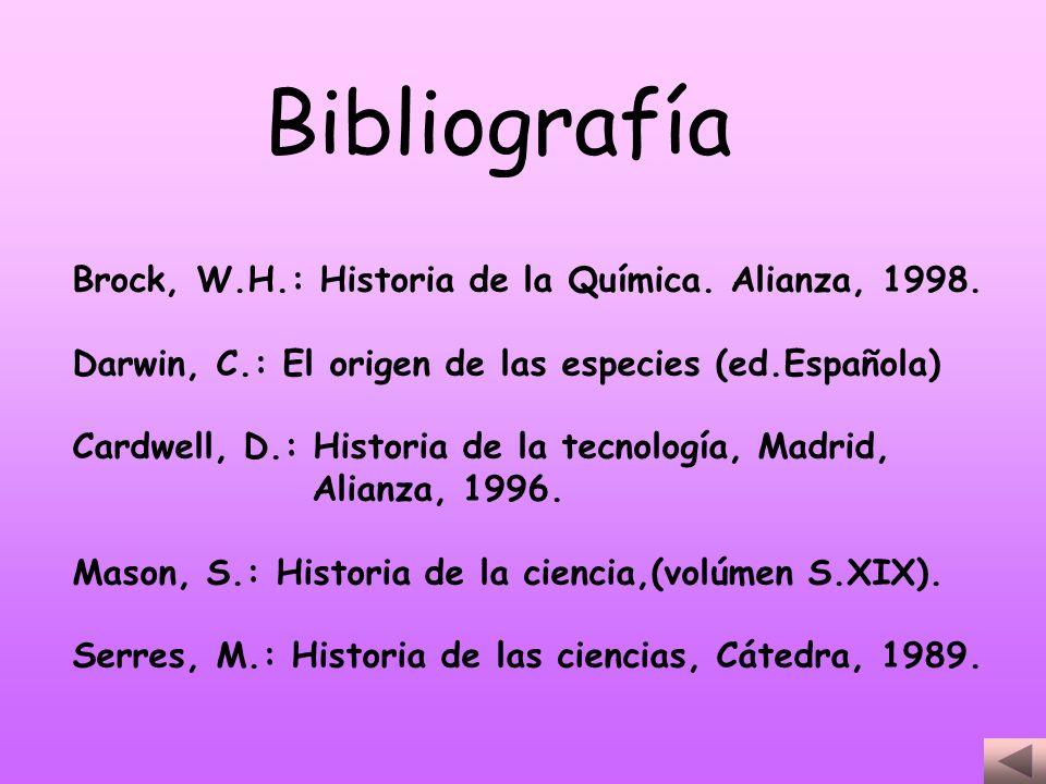 Brock, W.H.: Historia de la Química. Alianza, 1998. Darwin, C.: El origen de las especies (ed.Española) Cardwell, D.: Historia de la tecnología, Madri