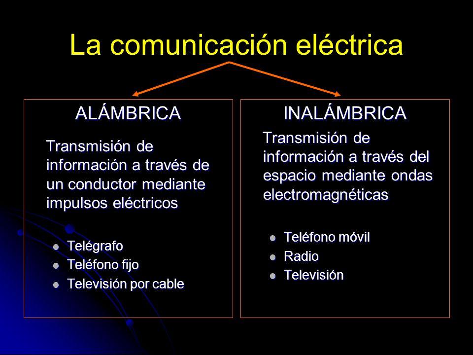 La comunicación eléctrica ALÁMBRICA Transmisión de información a través de un conductor mediante impulsos eléctricos Transmisión de información a trav