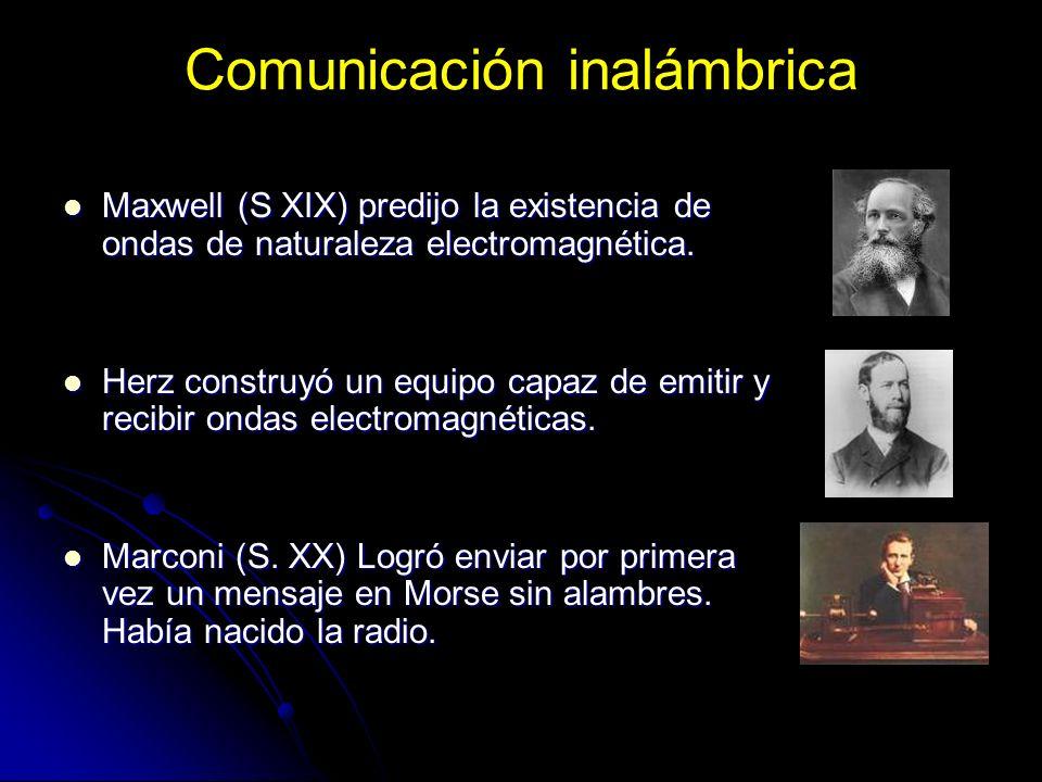 Comunicación inalámbrica Maxwell (S XIX) predijo la existencia de ondas de naturaleza electromagnética. Maxwell (S XIX) predijo la existencia de ondas